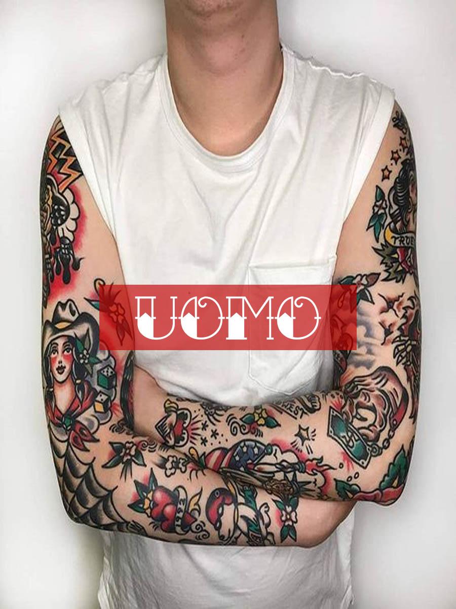 uomo old school collection tshirt con tatuaggi